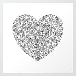 Mandala Heart with Flowers and Leaves for Adult Coloring Art Print