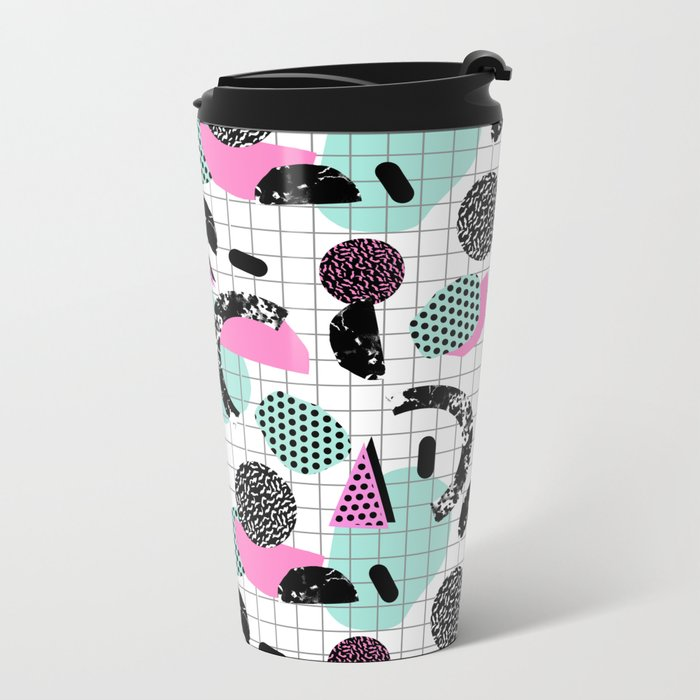 Joshin - memphis throwback retro pop art geoemetric pattern print unique trendy gifts dorm college Metal Travel Mug