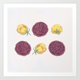 Battle of the rose - repeating pattern Art Print