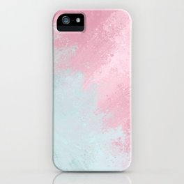 Modern abstract pink teal watercolor pattern iPhone Case