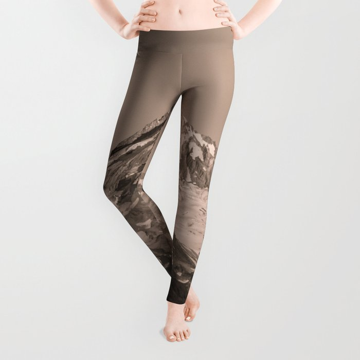 Mount Hood - Black and White - nature photography Leggings