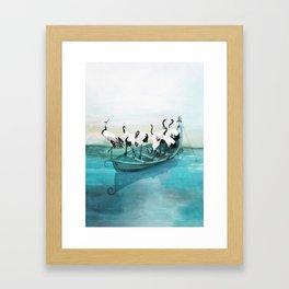 White Cranes Framed Art Print