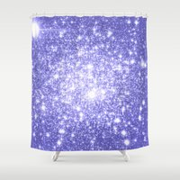 lavender Shower Curtains featuring Lavender Periwinkle Sparkle Stars by WhimsyRomance&Fun