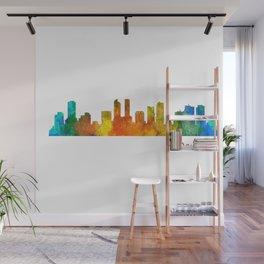 Denver Colorado City Watercolor Skyline Hq v1 Wall Mural