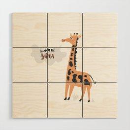 Love Giraffe Wood Wall Art