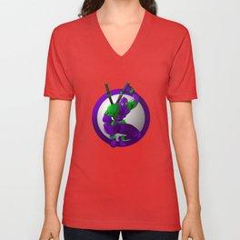 Purple Ninja Samurai Unisex V-Neck