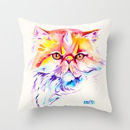 Persian Cat Watercolor Painting Throw Pillow