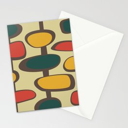 Mid Century Modern Baubles (gold) Stationery Cards