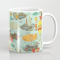 aviation Mugs featuring steampunk sky by Sharon Turner