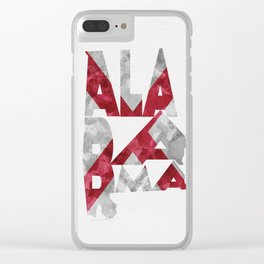 Alabama Typographic Flag Map Clear iPhone Case