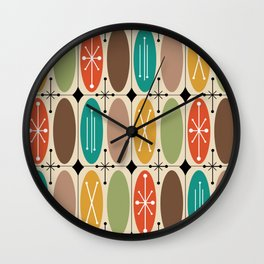 Atomic Era Ovals In Rows Colorful Wall Clock