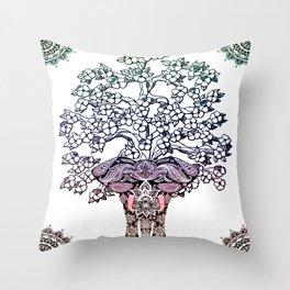 Indian Elephant Tree Of Life Throw Pillow