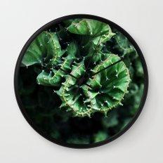 Emerald green Cactus Botanical Photography, Nature, Macro, Wall Clock