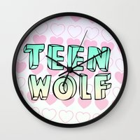 teen wolf Wall Clocks featuring TEEN WOLF by Sara Eshak