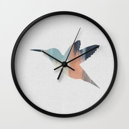 Pastel Hummingbird Wall Clock