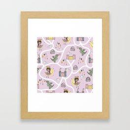 Childish seamless pattern with princess and dragon Framed Art Print