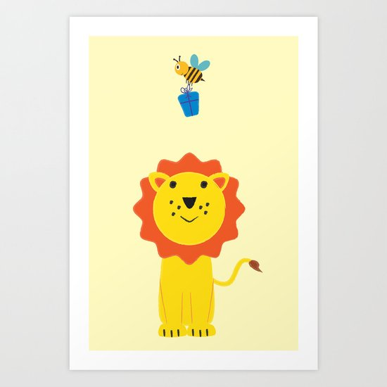 Lion and bee Art Print