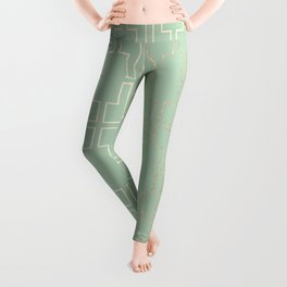 Simply Mid-Century in White Gold Sands and Pastel Cactus Green Leggings
