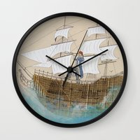pirate Wall Clocks featuring Pirate by Polina Kovaleva
