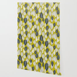 leaves and feathers chartreuse Wallpaper