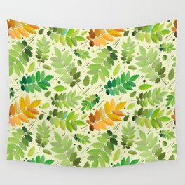 abstract, acorn, background, branch, color, cover, crocket, foiling, foliage, green, greens, impress Wall Tapestry
