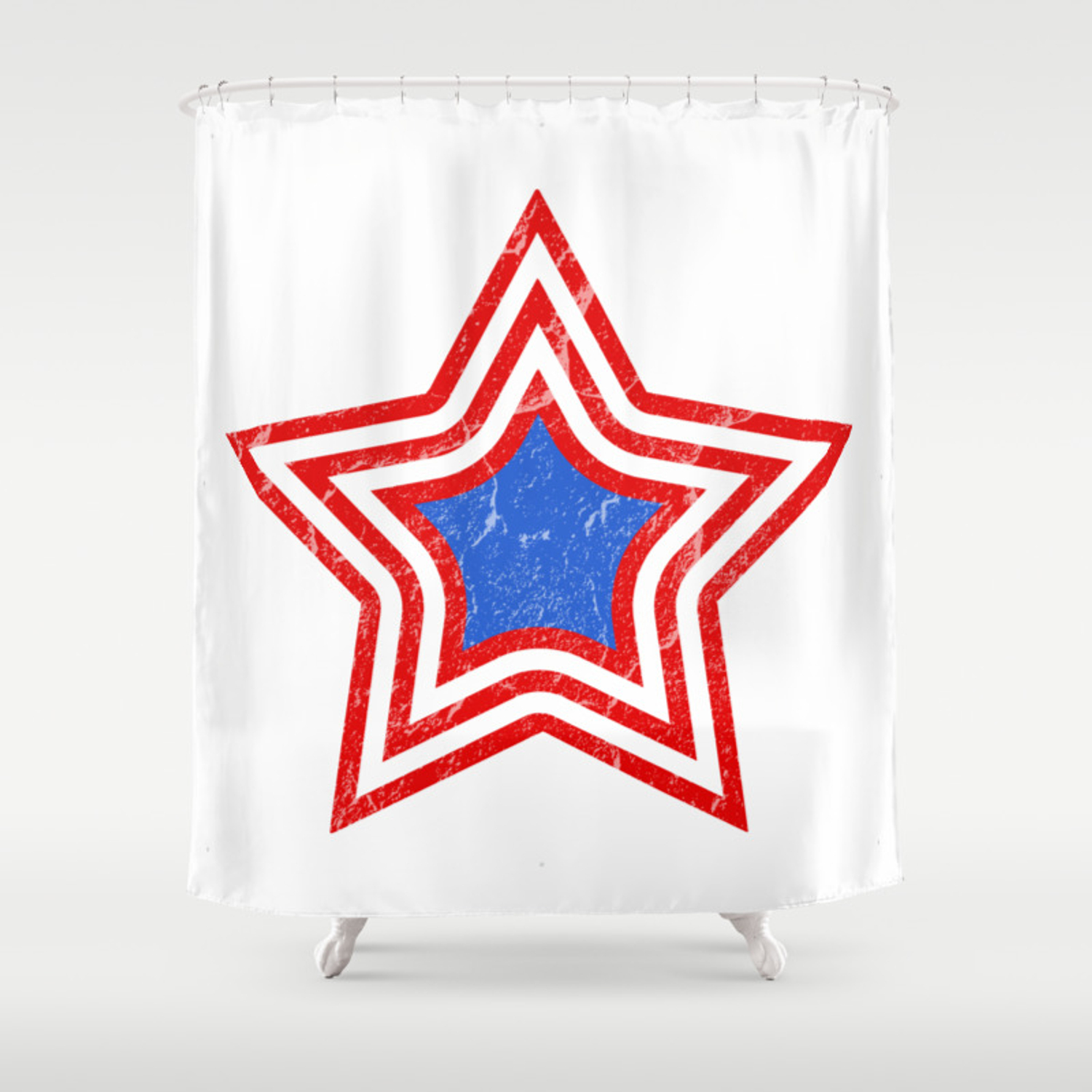 Patriotic Vintage Star Blue Center Red And White Stripes Shower Curtain