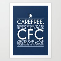 chelsea fc Art Prints featuring Carefree Chelsea by Little Aig