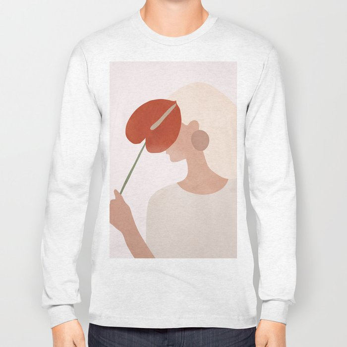 Lady with a Red Leaf Long Sleeve T-shirt
