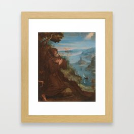 Circle of Lodovico Cardi, Il Cigoli (1559-1613) Saint Francis praying in a woodland setting Framed Art Print