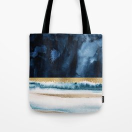 Navy Blue, Gold And White Abstract Watercolor Art Tote Bag
