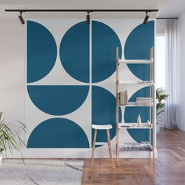 Mid Century Modern Blue Square Wall Mural