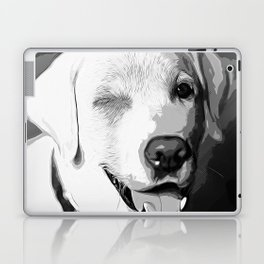 labrador retriever dog winking vector art black white Laptop & iPad Skin