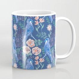 Navy Bird in Rose Bush Coffee Mug