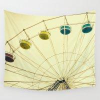 ferris wheel Wall Tapestries featuring Retro Ferris Wheel by Pati Designs & Photography