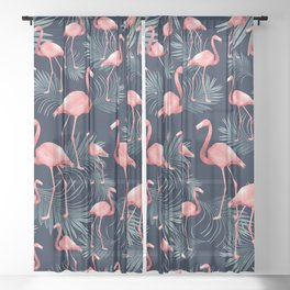 Summer Flamingo Palm Night Vibes #1 #tropical #decor #art #society6 Sheer Curtain