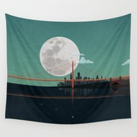 bicycles Wall Tapestries featuring SAN FRANCISCO by WyattDesign