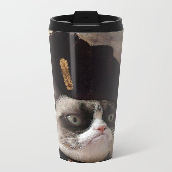 Angry cat. Grumpy General Cat.  Metal Travel Mug