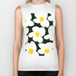 White Retro Flowers Black Background #decor #society6 #buyart Biker Tank