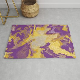 Liquid colorful shapes trendy pattern purple background Rug