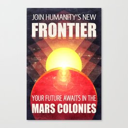 Mars Colonization Retro-Futurist Propaganda Canvas Print