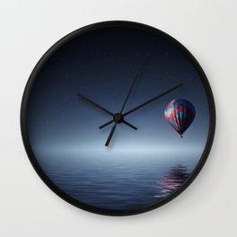 Hot Air Balloon Over Water Wall Clock