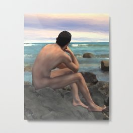 Nude Male by the Sea Metal Print