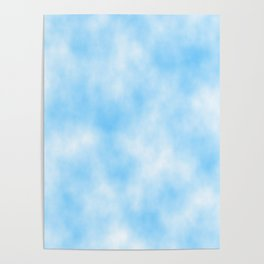 Pale Blue Clouded Art Poster