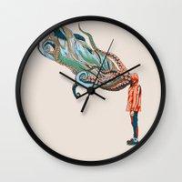 huebucket Wall Clocks featuring Octopus in me by Huebucket