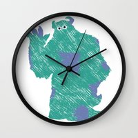 monster inc Wall Clocks featuring MONSTER INC. : SULLEY by DrakenStuff+