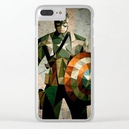 Captain A. art poster, Low poly art, Favorite movie hero, Vintage poster art, Superhero art Clear iPhone Case