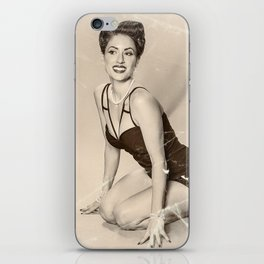 """""""Modern Swim-wear"""" - The Playful Pinup - Vintage Weathered Pinup Girl by Maxwell H. Johnson iPhone Skin"""