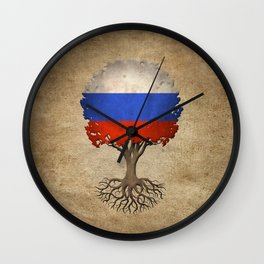 Vintage Tree of Life with Flag of Russia Wall Clock