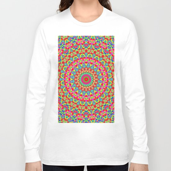 Kaleidoscope Vibrant Trippy Pattern Long Sleeve T-shirt
