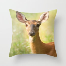 Portrait of a Doe outdoors in a field Throw Pillow